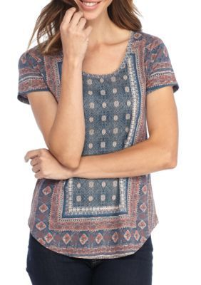 Lucky Brand Women's Short Sleeve Tee - Blue Multi - Xl