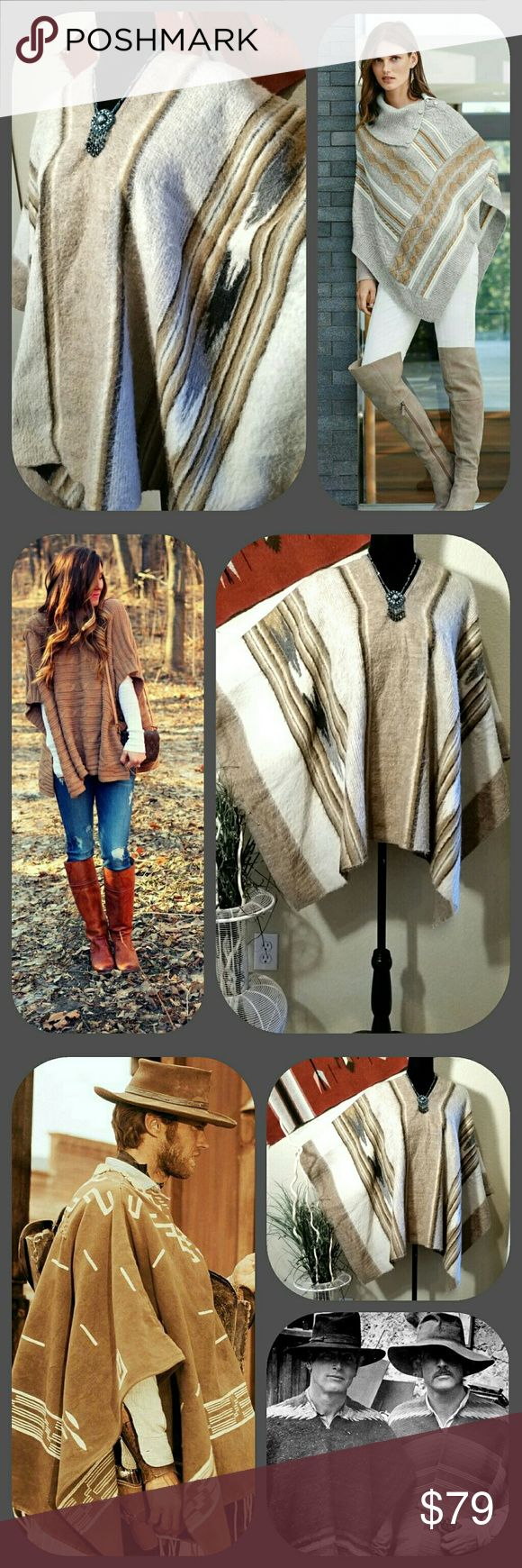 """Peruvian Wool Blanket Festival Poncho Unisex Peruvian Wool Blanket Poncho.  Listed as men's, but is truly unisex.  Western pattern in beige and grays.   For guys, Hang Em High Clint Eastwood,  Butch Cassidy and the Sundance Kid. For the ladies, Boho, Hippie, Camping,  Festival ...  One size fits most. Measures 44"""" across shoulders cuff to cuff;   Shoulder to hem 25"""" Peruvian Handmade Jackets & Coats"""