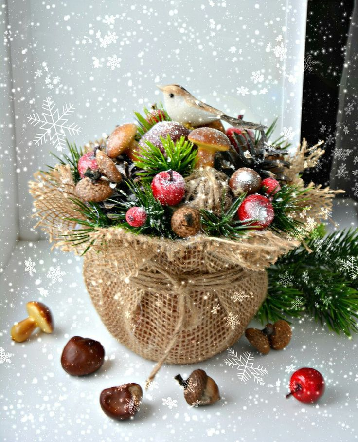Christmas bird: mushrooms, apples, evergreens, burlap.