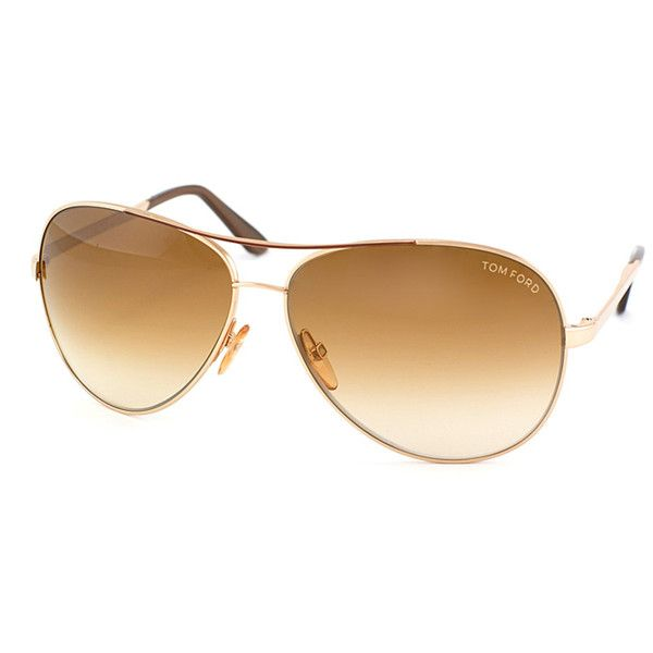 Tom Ford Charles Pilot Metal Sunglasses (392968701) (1.090 RON) ❤ liked on Polyvore featuring accessories, eyewear, sunglasses, gold brown, tom ford sunnies, brown lens sunglasses, american eyewear, american glasses and brown glasses