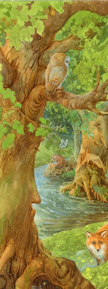 <3 Illustration by James Brown (note the face on the tree in the background and the beaver behind him)