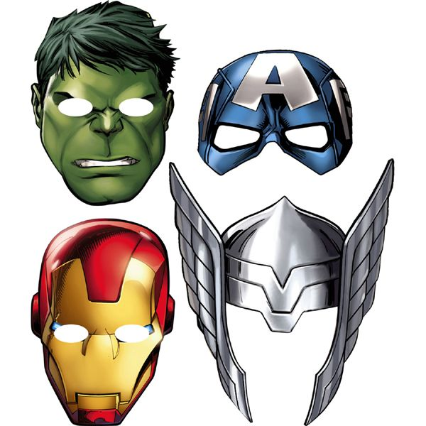 Avengers Assemble Mask (includes 8 pcs in a pack with 4 different designs)