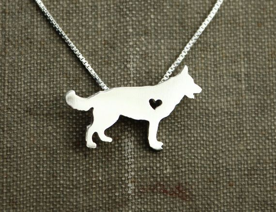 German Shepherd necklace sterling silver tiny by justplainsimple