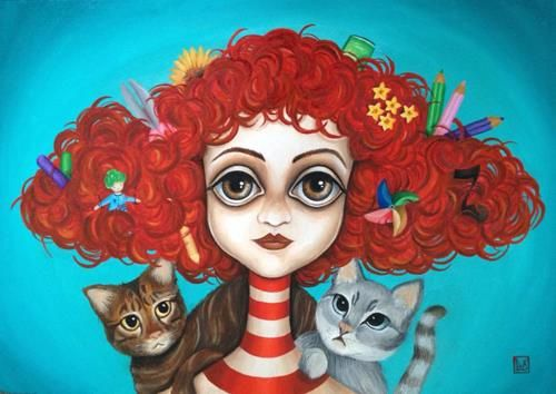 Viola, commission donna con gatti by Alessandra Lux #alessandralux #lux #womanwithcat #lowbrow #popsurrealism #coraline #painting #contemporaryart #cat