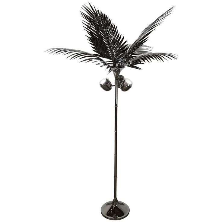 California King Palm Tree Floor Lamp in stainless steel by Christopher Kreiling   From a unique collection of antique and modern floor lamps at https://www.1stdibs.com/furniture/lighting/floor-lamps/