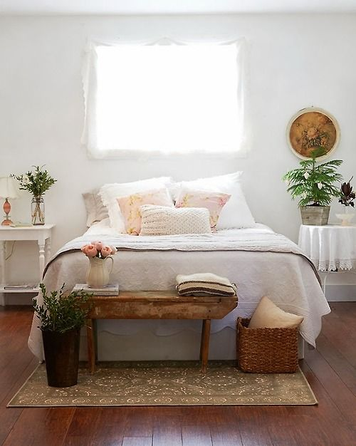 Beautiful Bedroom Styling Furniture Arrangement I Love The Pretty Little Wood Table Paired With
