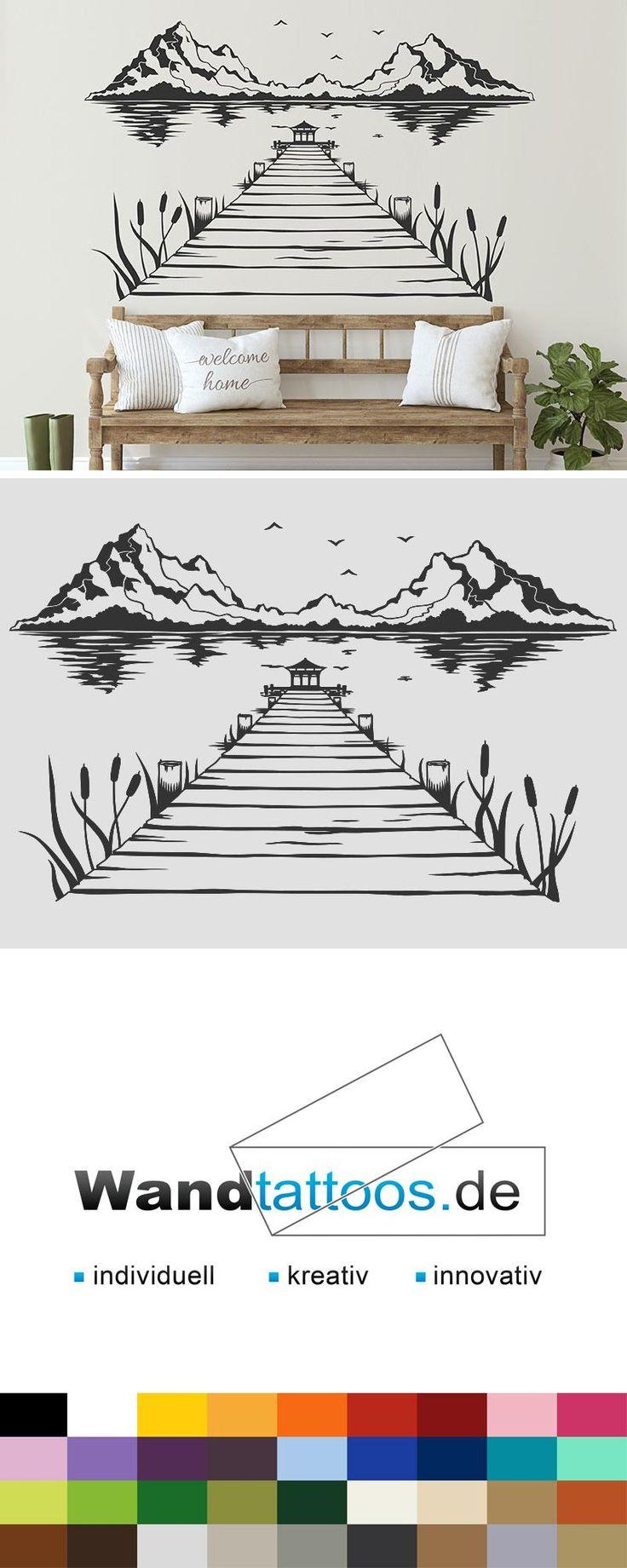 Wandtattoo Steg am See mit Bergen und Vögeln