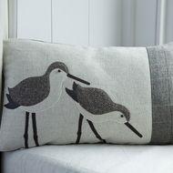 Handmade Dunlin wading bird cushion with brown herringbone wool and linen