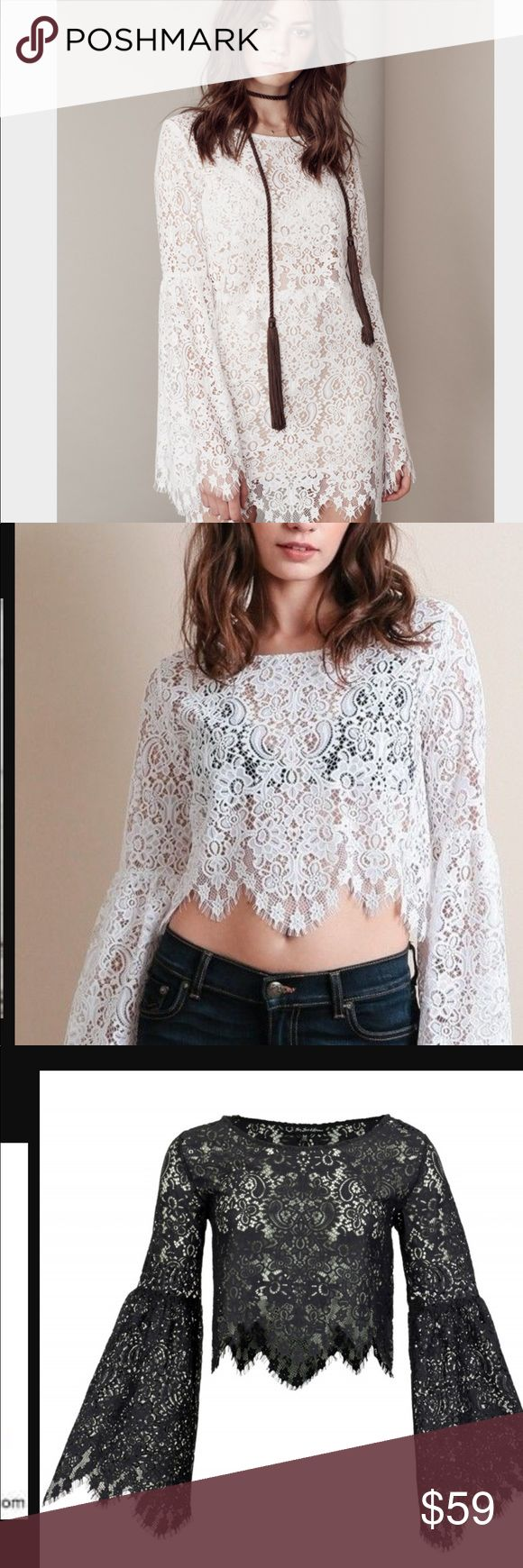 For love & lemons By design, the crop top Vika of For Love Lemons . The stunning paisley floral lace and the flared trumpet sleeves make the blouse something special. Although she is unlined, you can show off your SKIVVIES underneath for a little sex appeal. with a pair of high waisted jeans. For Love&Lemons crop top Vika  Round neckline Long trumpet-shaped flared sleeves Scalloped edge hemlines Unlined Paisley floral lace Color: Black For Love And Lemons Tops Tees - Long Sleeve