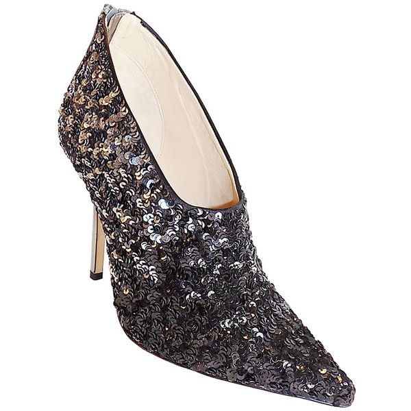Pre-owned Oscar de la Renta Eva sequined ankle boots SOLD OUT sz 8 ($450) ❤ liked on Polyvore