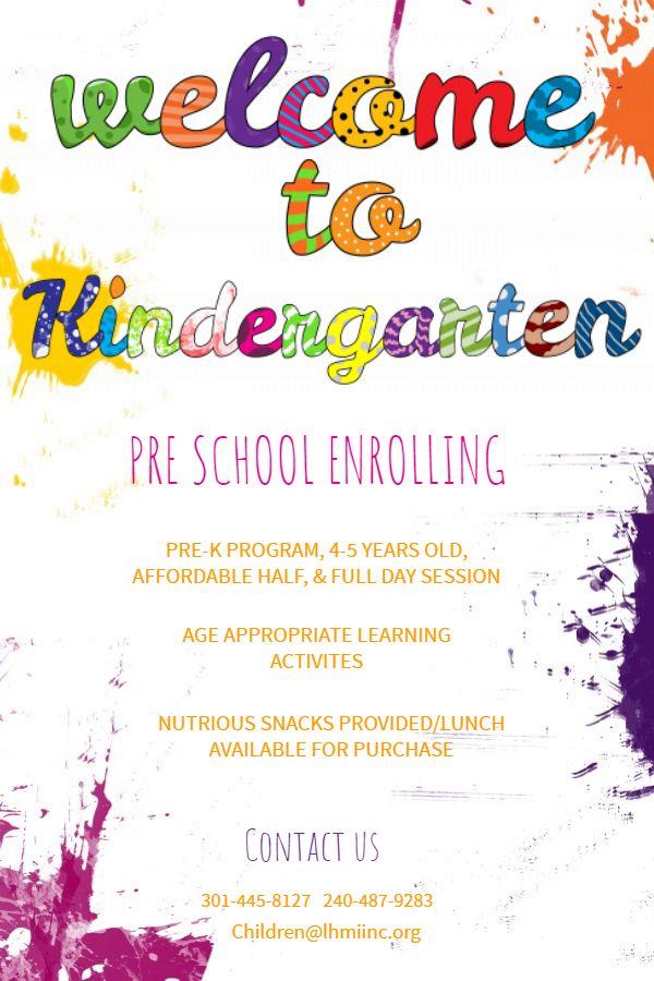 Welcome To Kindergarten Preschooling Enrollment Leaflet Flyer