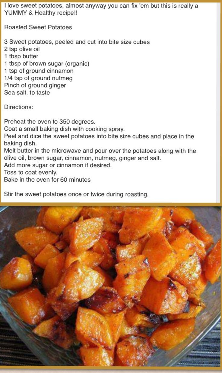 Roasted sweet potatoes. I started the potatoes at 425 degrees for 10 mins then lowered to 350.