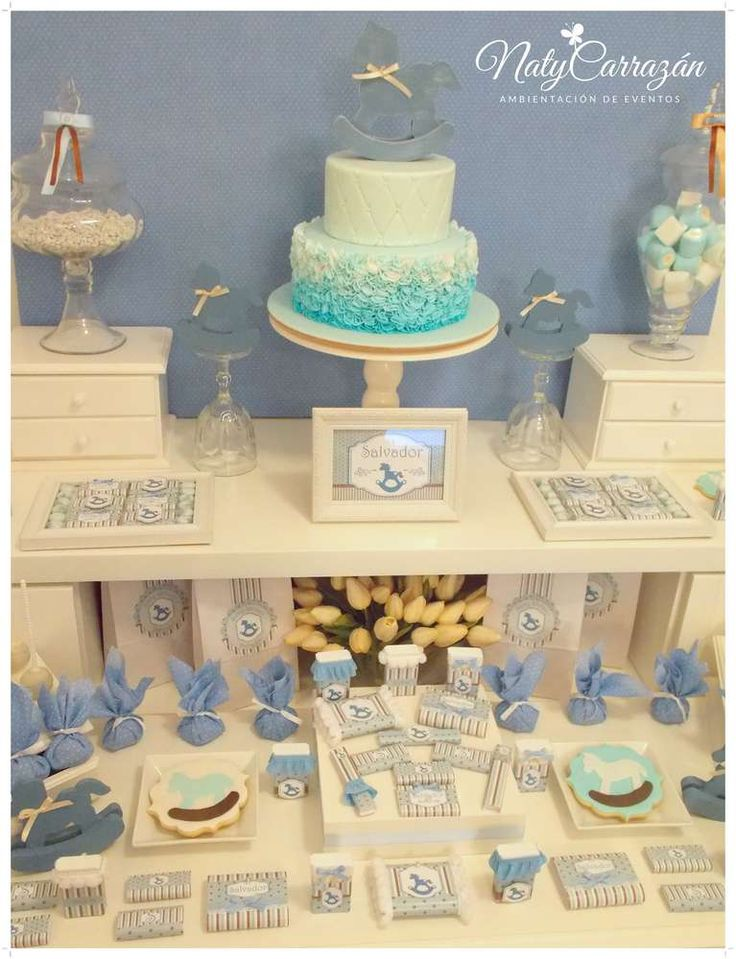 Treats at a rocking horse baby shower party! See more party ideas at CatchMyParty.com!