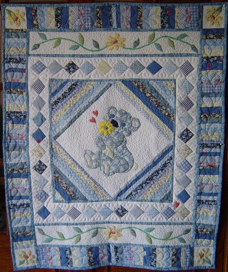 Baby Quilt Designs for Boys | Patchwork and applique design in blue for a little boy