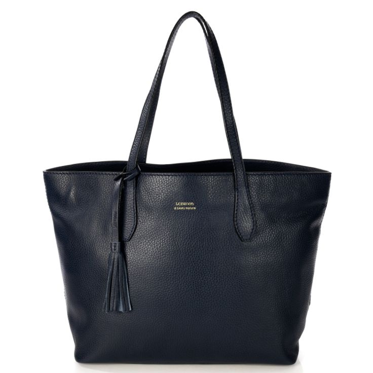 Large dark bluereal leather shopping bag. Ideal for the office or shopping trips during the day. Matching leather pom-pom. Snap fastener. Small zip-up inner pouch + removable clutch, LOXWOOD leather logo. Comes with its own protective cover. COMPOSITION: Calfskin leather exterior, 100% cotton lining SIZE:30 (H) x 48 (W) x 15 (D) cm
