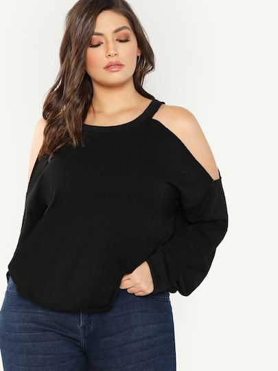 Shop Plus Open Shoulder Sweatshirt online. SheIn offers Plus Open Shoulder Sweat…