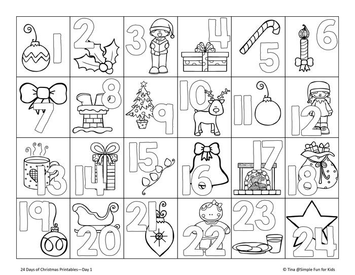 24 Days of Christmas Printables - Day 1!Get ready for the Christmas countdown with this cute no-prep advent calendar coloring page!