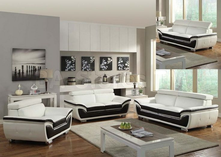 Olina Contemporary 3 PC White/Coffee Sofa Set (Sofa, Loveseat And Chair) · Living  Room ...