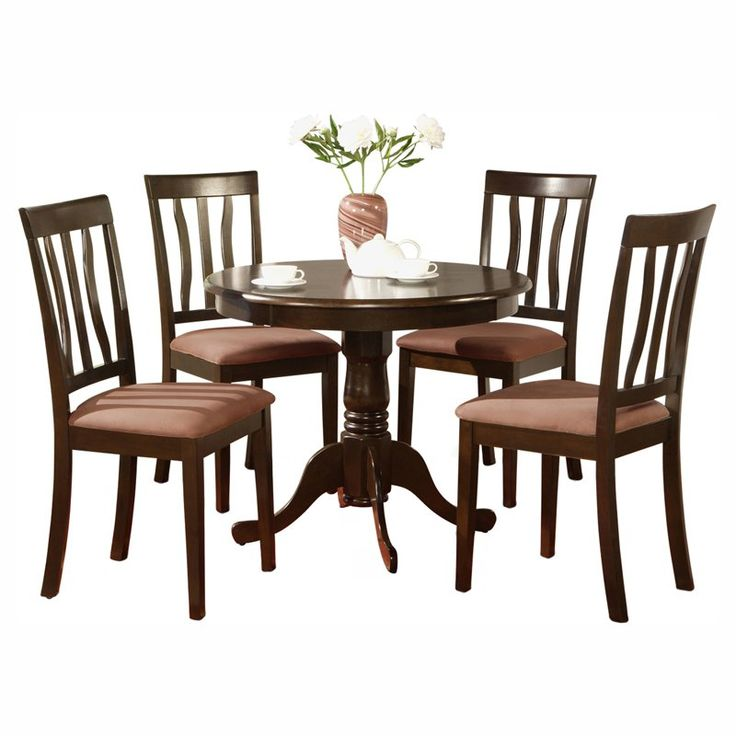 East West Furniture Antique 5 Piece Pedestal Round Dining Table Set With Microfiber Seat