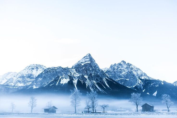 Just some snowcapped mountains fog and cabins. NBD. Shot in Lermoos Austria. #DXBtoDE by shackette