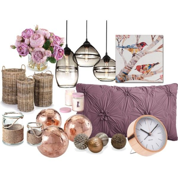 Mauve & Copper Accessory Room Inspiration by ellary-branden on Polyvore featuring interior, interiors, interior design, home, home decor, interior decorating, Pier 1 Imports, New Growth Designs, Puji and Thos. Baker