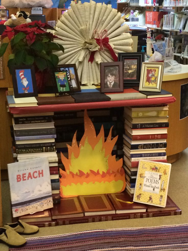 winter display with a book hearth