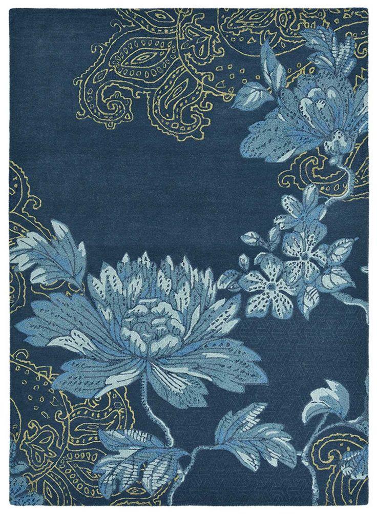 tapis design fabled floral bleu marine tapis design bleu marine et tapis. Black Bedroom Furniture Sets. Home Design Ideas