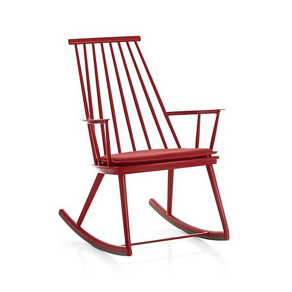 Union Red Rocking Chair with Sunbrella � Cushion  | Crate and Barrel