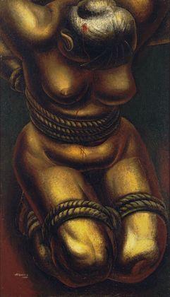 Proletarian Victim  David Alfaro Siqueiros (Mexican, 1896-1974)  1933. Enamel on burlap,