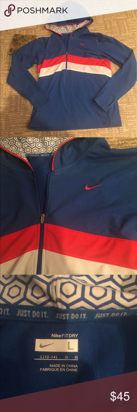 NIKE HOODIE FULL ZIP UP BLUE WHITE SWOOSH FIT DRY Pre loved perfect condition  Nike fit dry zip up hoodie with white and orange  stripes and orange logo has thumb holes on the sleeves is super comfy and cute! Fast shipping Nike Tops Sweatshirts & Hoodies