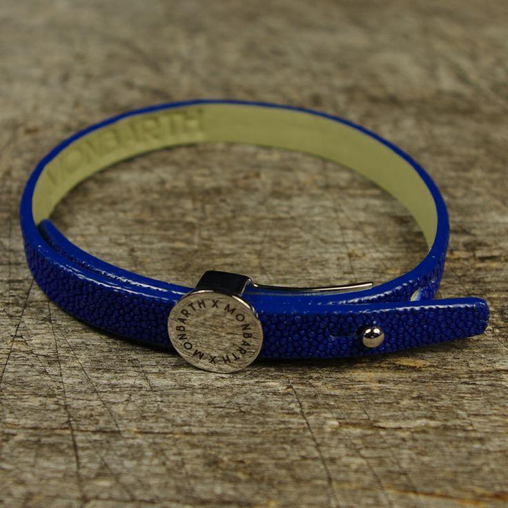 Bracelet Galuchat Blue Simple Tour MONBARTH