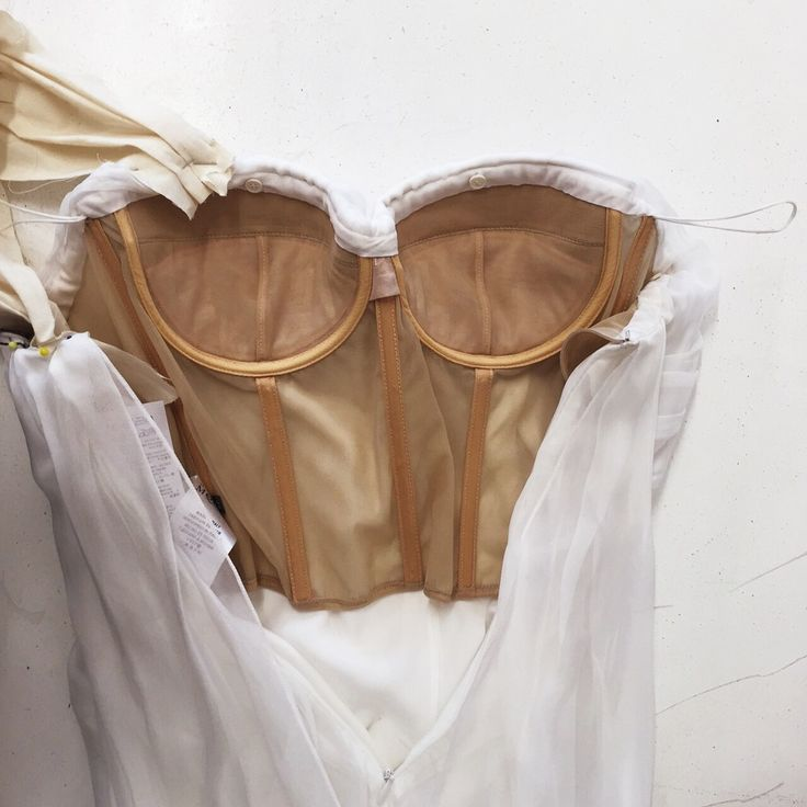 Alexander McQueen Wedding Dress. You can see support on the interior structure from an inserted corset with boning, nude mesh and padded bra.