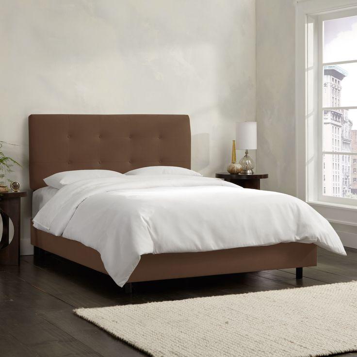 Skyline Furniture Chocolate Velvet Tufted Bed
