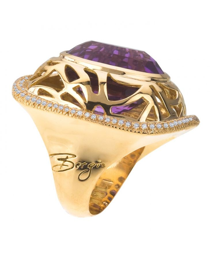 18kt Gold Safari Amethyst Ring - Cocktail - Rings - Jewellery & Gifts