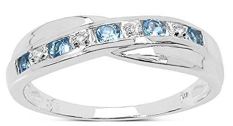Colección Anillo Diamante en Oro Blanco 9 kilates de Topacio Azul y set Diamantes   Joyería online, joyas de Plata y Oro.