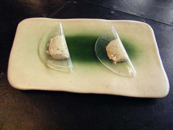 Gelatin ravioli w oyster paste