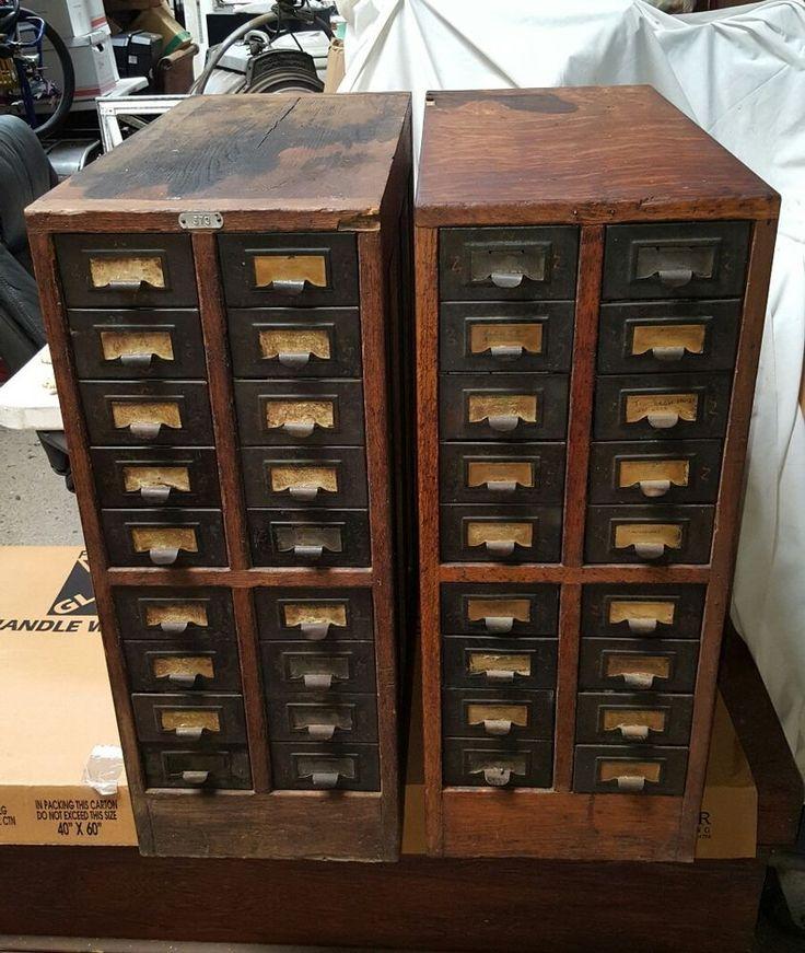 Vintage Pair Of 20 Drawer Wood Index Library Card Catalog