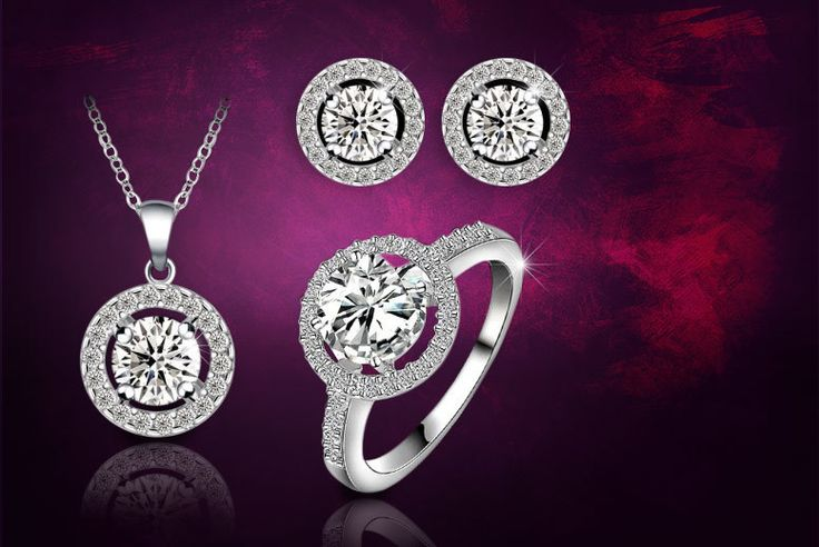 White Gold-Plated Halo Tri Set made with Swarovski Elements