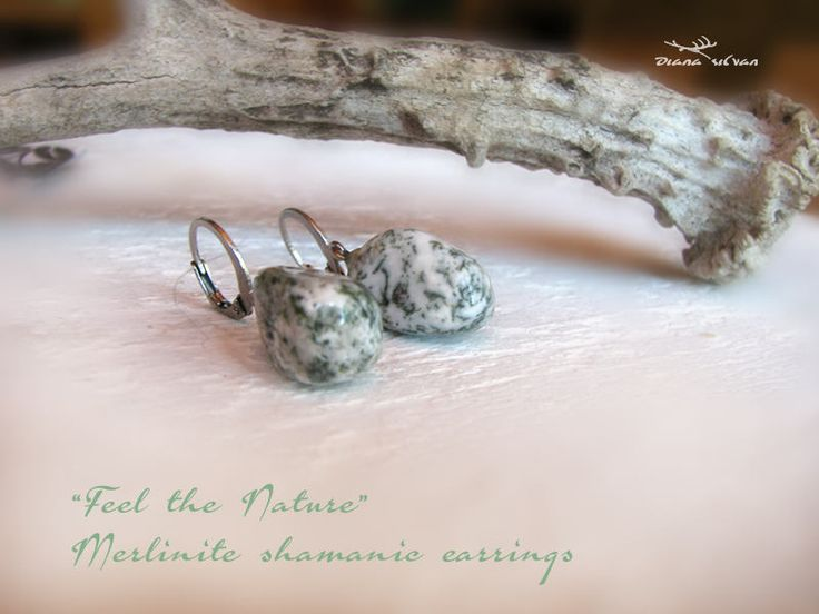 Merlinite shamanic earrings, natural merlinite, natural dendritic agate earrings, shamanic earrings, healing stone earrings, 316  steel by DianaSilvanStone on Etsy