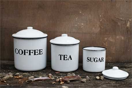"Use these cute and classic canisters in your kitchen to store coffee, tea and sugar! - COFFEE: 5"" X 6""TALL - TEA: 4"" X 4""TALL - SUGAR: 3 1/2"" X 3""TALL - MADE OF ENAMELED METAL - SOLD AS A SET This ite"