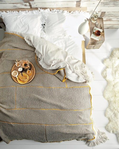 love this: Decor, Breakfast In Beds, Colors, Martha Stewart, Knits Blankets, Knit Blankets, Bedrooms, Cozy Beds, Ruffles