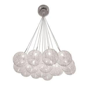BAZZ, Lume Series Chrome Ceiling Mount Chandelier with Pendants Clear Balls  Covered in a Metal Mesh, at The Home