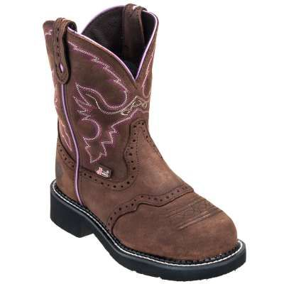 Justin Boots: Women's WKL9980 Aged Bark With Diamond Cut Steel Toe Boots - Women's Steel Toe Work Boots - Women's Steel Toe Boots - Footwear