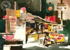 Jake Lee - Open All Night - California art - fine art print for sale, giclee watercolor print - Californiawatercolor.com
