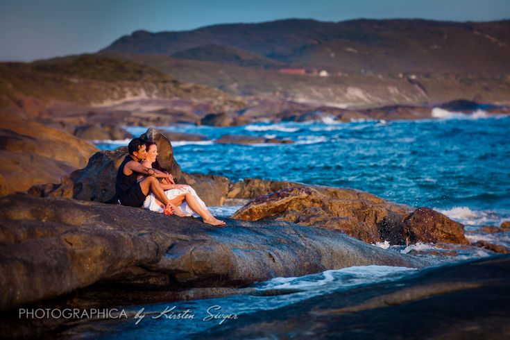 Denmark WA beach wedding photographer Kirsten Sivyer | Photographica. 'Just married' portrait photography session. Romantic beach wedding photography.