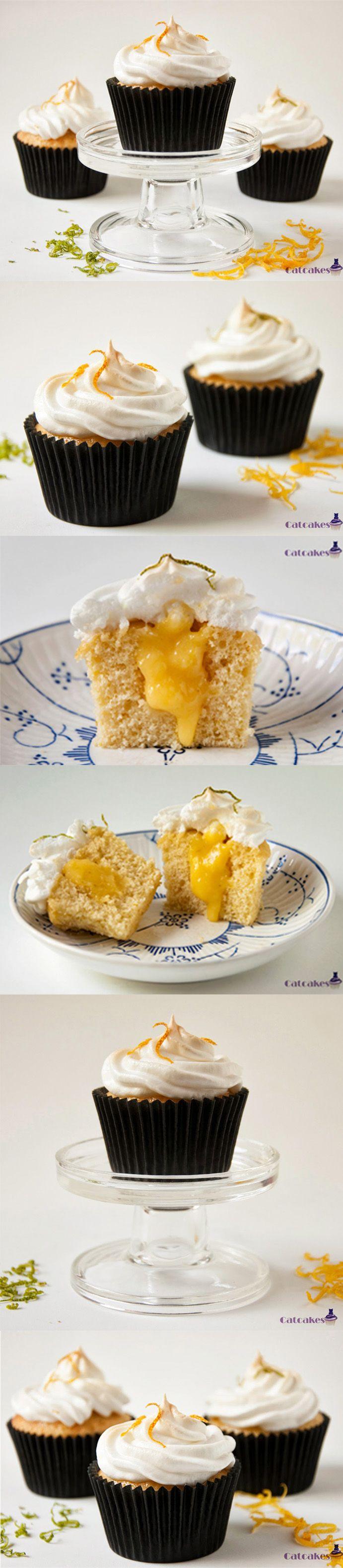 Cupcakes de lima, limón y merengue / http://www.catcakes.es/