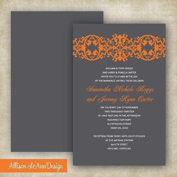 Gray Orange Wedding Invitation by AllisonLeAnnDesign on Etsy
