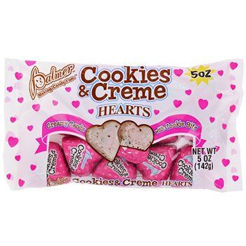 Colorful foil-wrapped cookies & creme flavored candy hearts are a great addition to Valentine's Day cards and classroom Valentine's Day exchanges! Each piece is individually wrapped up in pink foil an
