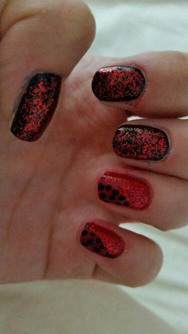 Black and red design with dots