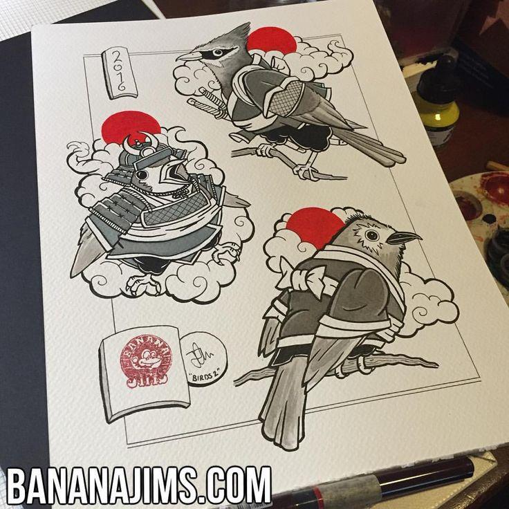 Samurai Bird #flashsheet number 1! #ukiyoe #irezumi #wabori #horimono #bananajims